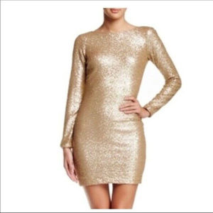 DRESS THE POPULATION M L LONG SLEEVE SEQUIN DRESS